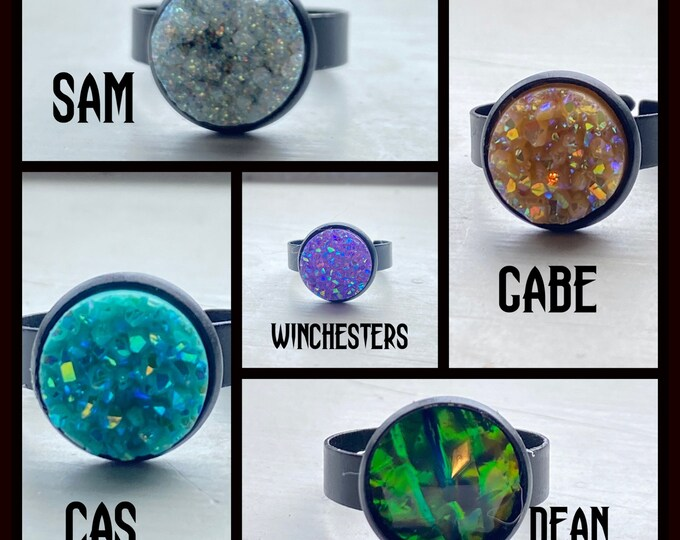 Supernatural Jewelry - Supernatural Rings - Black Adjustable Stackable Rings - Choose from Dean Winchester Sam Winchester Castiel Gabriel