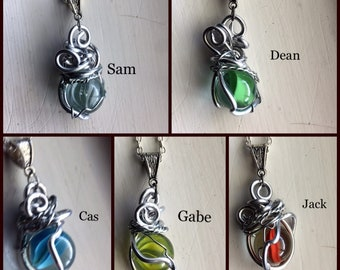 LAST CHANCE SALOON - Worlds - Supernatural Inspired Wire Wrapped Necklace Sam Winchester Dean Winchester Castiel Gabriel Jack Kline Fan Art