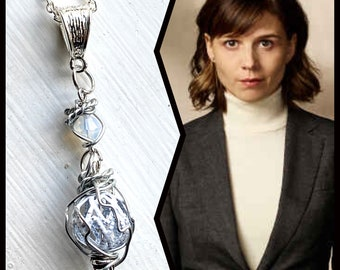 Evil Jewelry - Kristen Bouchard of Evil Necklace - Wire Wrapped White Cage and White Crystal Necklace
