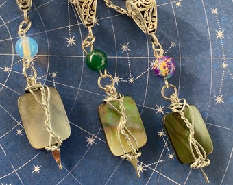 Welcome Back, Boys! Supernatural Inspired Abalone and Semi Precious Stones Wire Wrapped Necklaces Sam Winchester Dean Winchester Castiel
