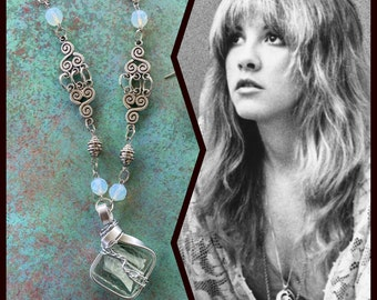 Stevie Nicks Inspired Wire Wrapped Necklace and Earrings Set