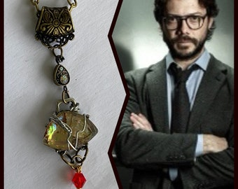 The Professor - La Casa De Papel Money Heist Inspired Wire Wrapped Necklace Alvaro Morte