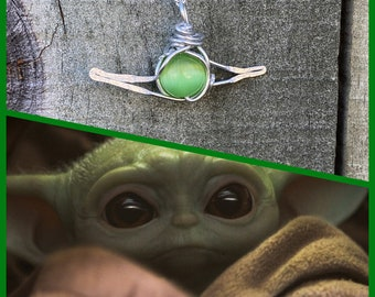 Baby Yoda Inspired Wire Wrapped Necklace- Star Wars The Mandalorian