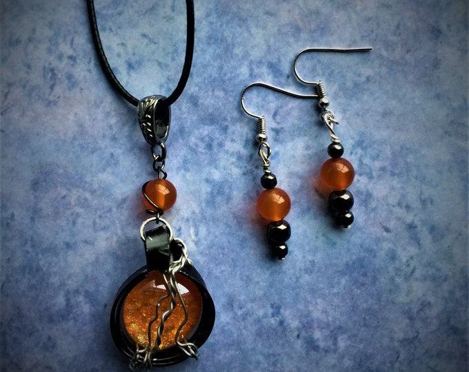 Goku Inspired Necklace and Earrings Set Dragon Ball DBZ Dragon Ball Super Wire Wrapped Sean Schemmel