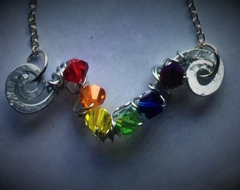 Pride Inspired Design - Wire Wrapped Crystal Necklace