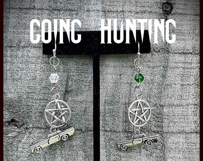 Supernatural Jewelry - Supernatural Earrings - Going Hunting - Pentagram Impala Crystals Earrings