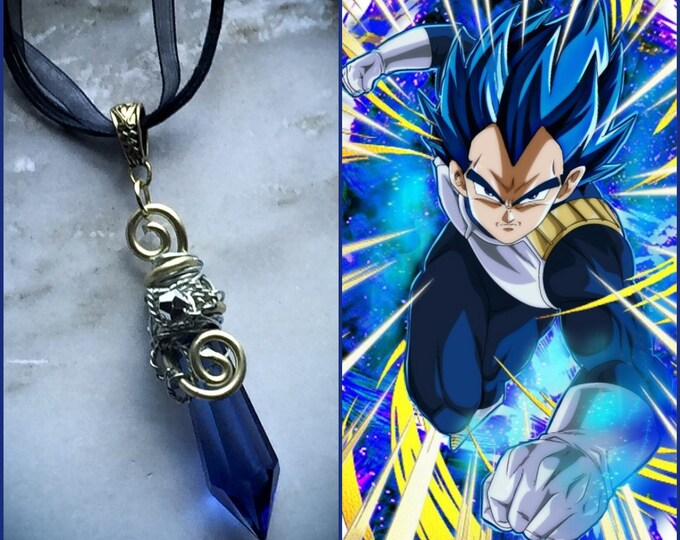 SSJ Blue Evolution Vegeta -  Vegeta Super Saiyan Blue Evolution  DragonBall Z DragonBall Super Prince Vegeta Fan Art Wire Wrapped Necklace