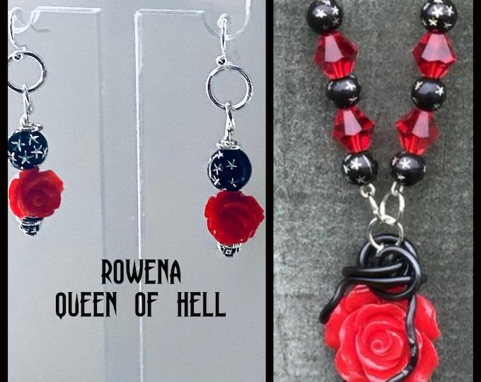 Supernatural Jewelry - Rowena Earrings - Rowena Queen of Hell - Goth Rose Earrings