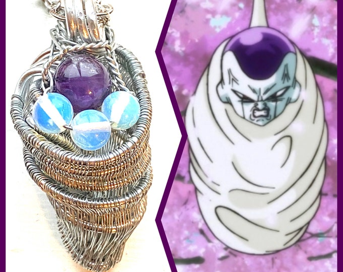 Dragon Ball Z Super - Frieza's Hell -  Frieza Cocoon Fan Art Woven Wire Wrapped Necklace
