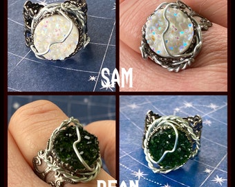 Supernatural - Faux Druzy Adjustable Wire Wrapped Rings- Sam, Dean Winchester Castiel, Gabe Ready to Ship