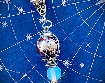 Sam Just Wanted to Test the Squeezy Thing- Sam Winchester Inspired Wire Wrapped Foil Glass and Moonstone Necklace
