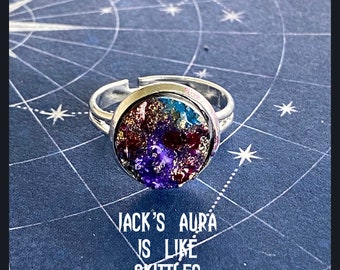 Jack's Aura is Like Skittles - Supernatural Inspired Adjustable Hand Painted Faux Druzy Ring Jack Kline Alexander Calvert