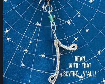 Dean with that Scythe, Y'all! - Supernatural Inspired Wire Wrapped Necklace Dean Winchester Jensen Ackles