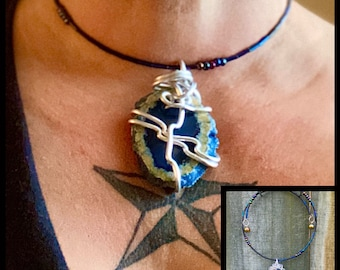 Dark Blue Agate Slice - Wire Wrapped Accessible Necklace