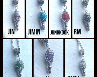 BTS Necklaces - Wire Wrapped Pendants Representing BTS Jin - Jimin - Jungkook - RM - J-Hope - V - Suga