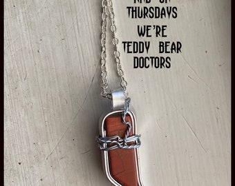 Supernatural - And on Thursdays We're Teddy Bear Doctors - Wire Wrapped Necklace
