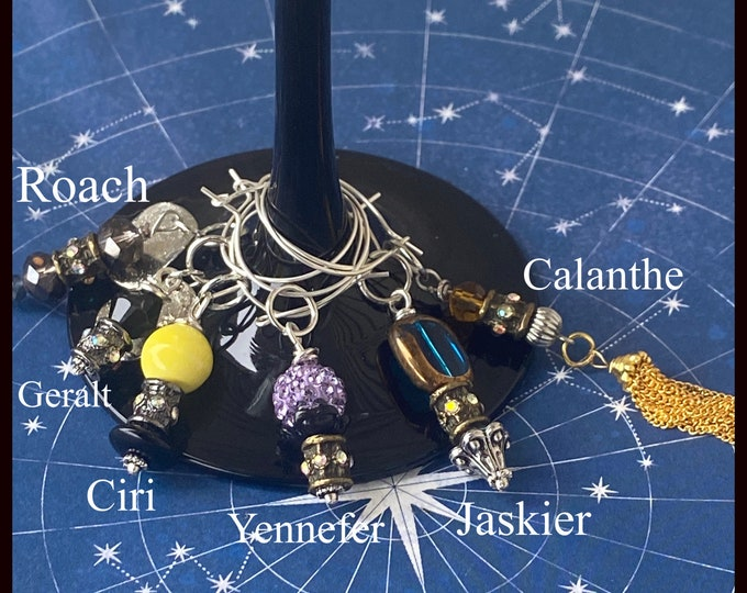The Witcher Inspired Wine Charms Gerald Roach Ciri Yennefer Calanthe Lioness of Cintra Jaskier Wine Marker