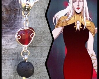 Castlevania Jewelry - Carmilla Necklace - Wire Wrapped Basalt Lava Stone Pendant