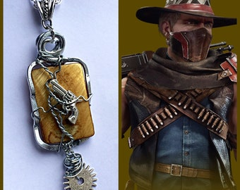 Mortal Kombat Jewelry - Erron Black Necklace - Wire Wrapped Cowboy Necklace