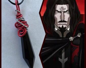 Castlevania Jewelry -  Dracula Necklace - Wire Wrapped Crystal Pendant - Dracula Castlevania Necklace