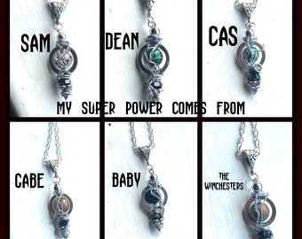 Supernatural Necklace - My Super Power Is - Choose Sam, Dean, Cas, Gabe, Baby, or Winchesters Wire Wrapped Necklace