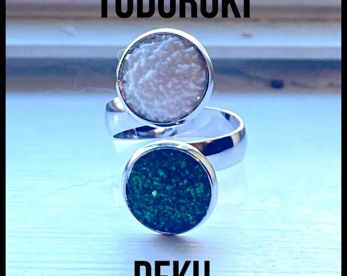 My Hero Academia Jewelry - Design Your Own MHA Ring - Faux Druzy Adjustable Band - Choose Deku, Todoroki, Katsuki, and more!