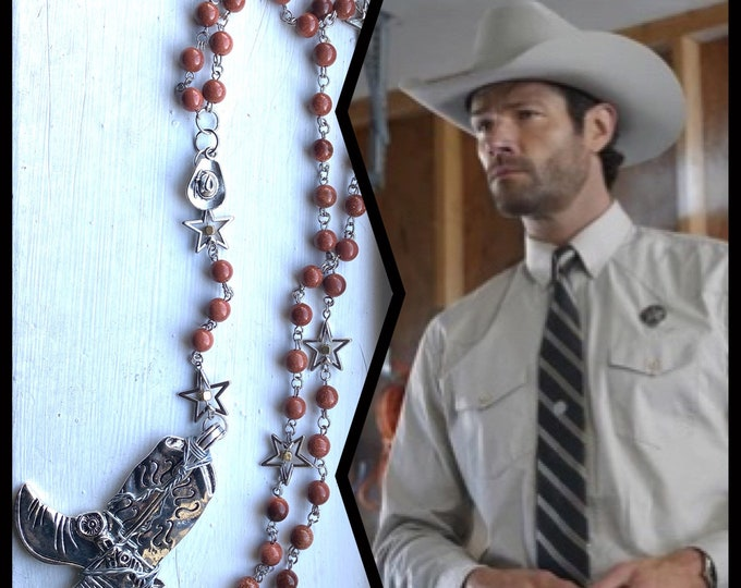 Walker Rosary - Goldstone Star Cowboy Boot Wire Wrapped Rosary