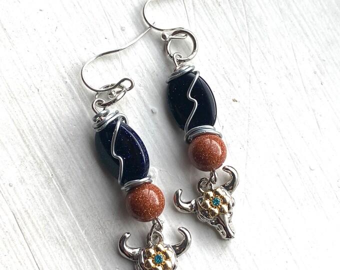 Walker Jewelry - Cow Skull and Goldstone Earrings  - Wire Wrapped Goldstone Sandstone Earrings  - Jared Padalecki Kale Culle