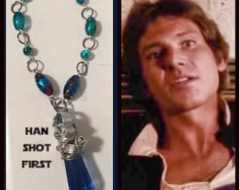 Star Wars Jewelry - Han Solo Necklace - Han Shot First - Wire Wrapped Crystal Necklace