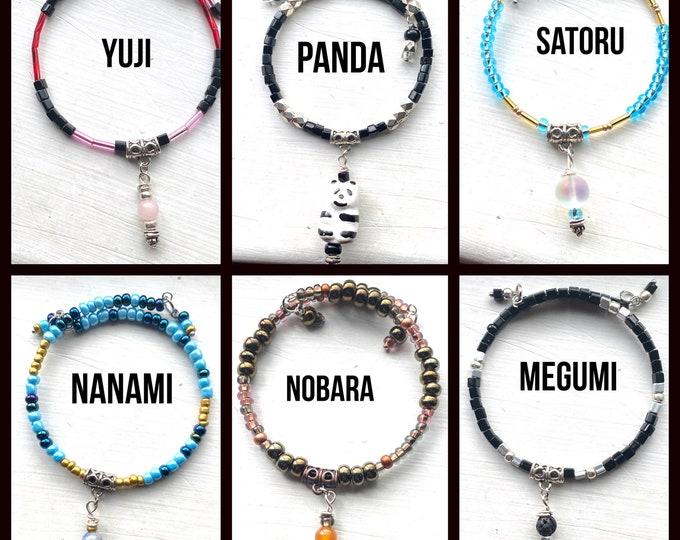 Jujutsu Kaisen Jewelry - Wrap Anklets - Choose from Yuji, Satoru, Megumi, Nanami, Panda, and Nobara!