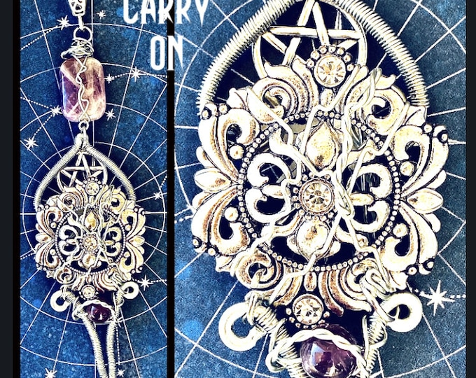 Supernatural Jewelry - Carry On - Series Finale Wire Wrapped Amethyst & Pentagram Necklace
