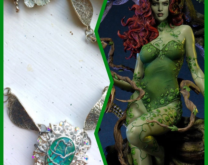 DC Jewelry - Poison Ivy Necklace - Wire Wrapped Poison Ivy Inspired Necklace