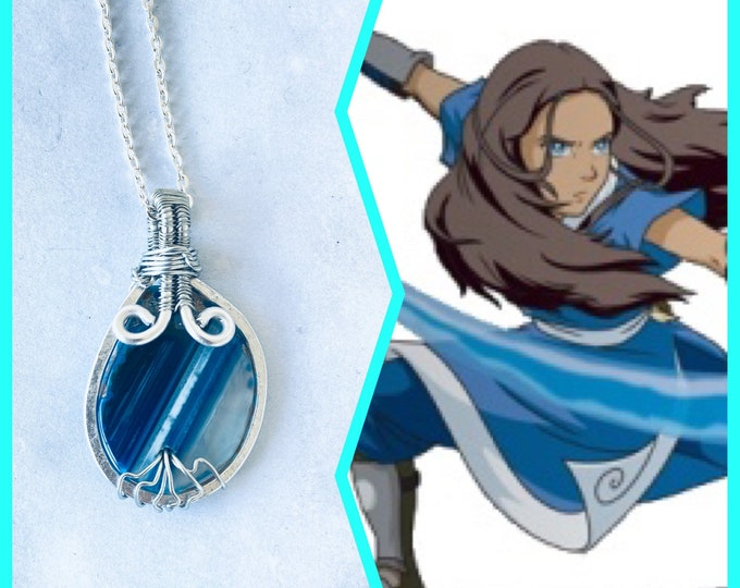 Avatar the Last Airbender Jewelry - Katara  Inspired Wire Wrapped Necklace