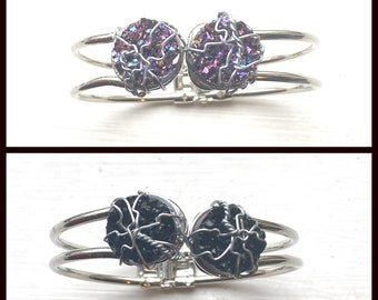 Supernatural Jewelry - Supernatural Cuff Bracelets - Wire Wrapped Faux Druzy