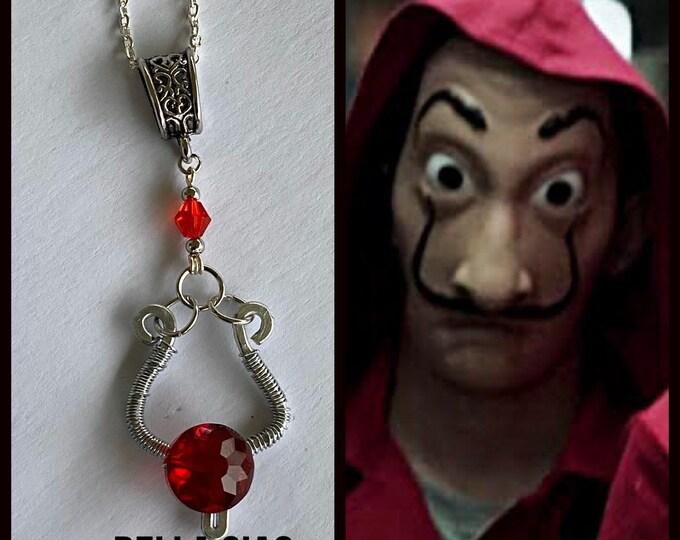 Money Heist Jewelry - Bella Ciao Necklace - La Casa De Papel - Wire Wrapped Salvador Dali Pendant