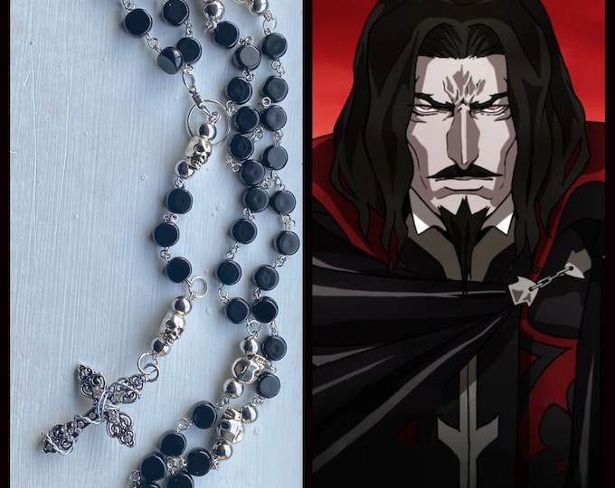 Castlevania Rosary - Dracula  Rosary -Black Czech Glass and Skulls Wire Wrapped Rosary