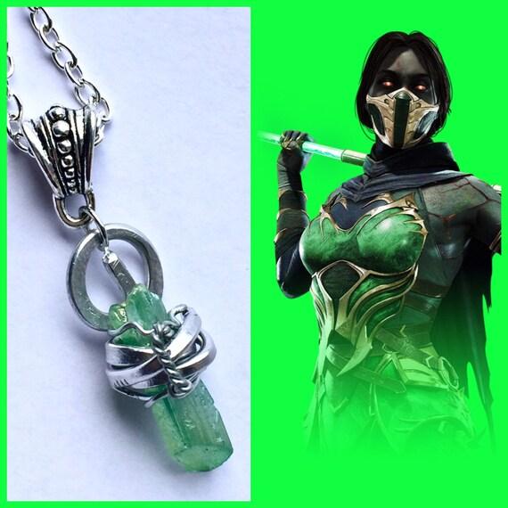 Jade Mortal Kombat Inspired Fan Art Wire Wrapped Necklace Etsy