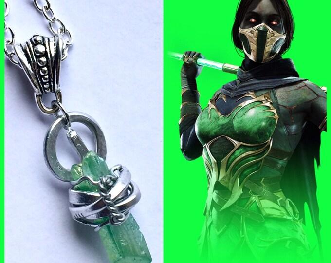 Mortal Kombat Jewelry - Jade Necklace - Mortal Kombat Necklace - Wire Wrapped Quartz Necklace