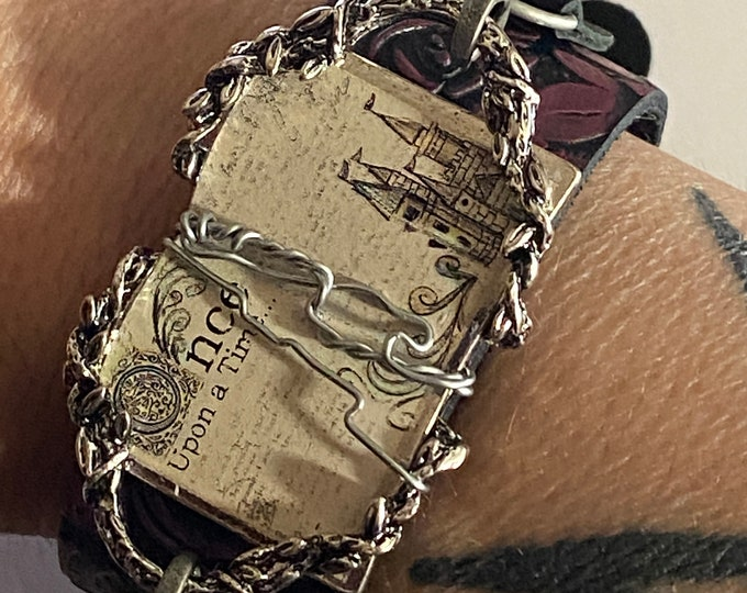 Once Upon a Time Bracelet - Wire Wrapped Book Element on Maroon Leather Cuff Bracelet