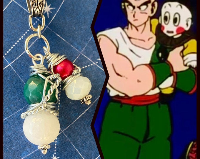 Dragon Ball Jewelry - Tien and Chiaotzu Necklace - Wire Wrapped Jasper and Jade Pendant