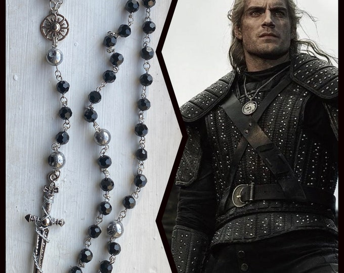 The Witcher Rosary - Geralt Rosary - Czech Glass and Silver Druzy Wire Wrapped Rosary