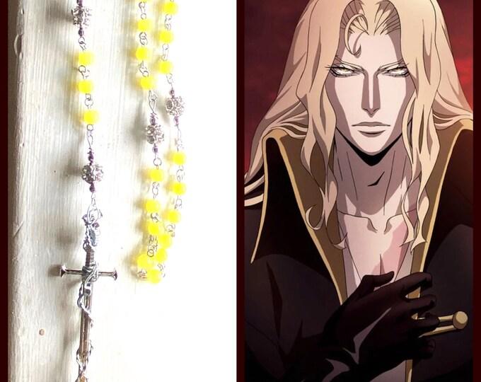 Castlevania Rosary - Alucard Rosary -Yellow Jade Wire Wrapped Rosary