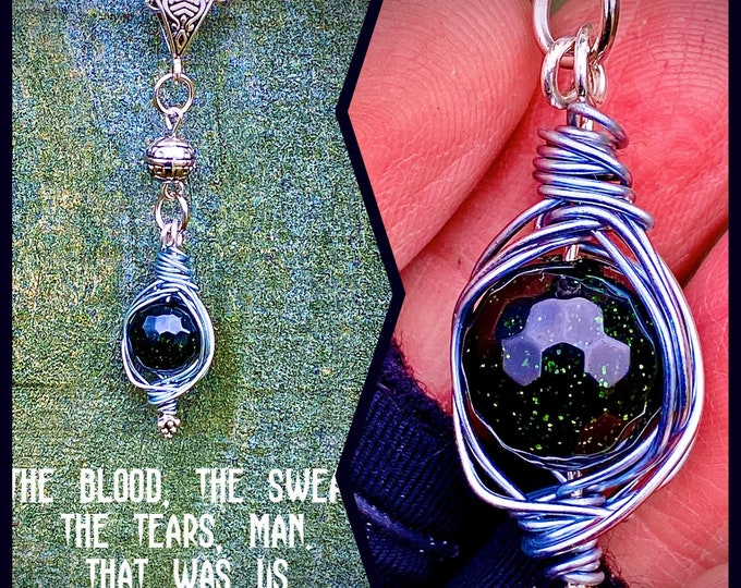 Supernatural Jewelry - Dean Winchester Necklace - The Blood, the Sweat, the Tears, Man. That Was Us - Wire Wrapped Goldstone Necklace