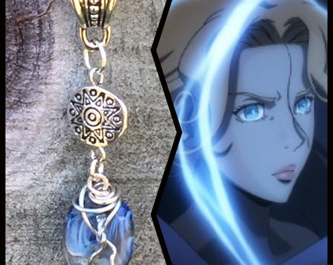 Castlevania Jewelry - Sypha Necklace - Wire Wrapped Art Glass Pendant