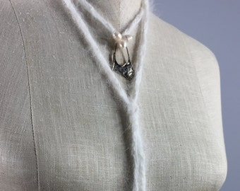 Uniquely Designed Fiber Art Necklace-Freshwater Pearls and Silver Ornamentation on a White Angora Cord, a tiny quiet
