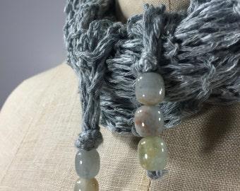 Mindful Wrap, Wearable Fiber Art-Watery Aquamarine Beads on a Soft Aqua Linen and Rayon Empowerment Stole/Mindfulness Mantle