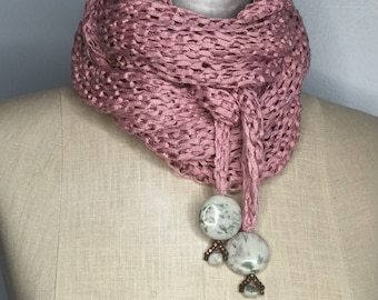 OOAK Large Lusious Antique Rose Malleable Bamboo Wrap Shawl with Moss Agate Discs Wearable Fiber Art