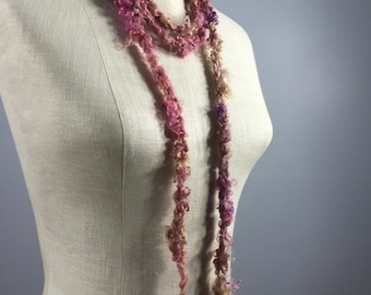 Necklace-Wrap-Freshwater Pearl Orbs on a Shades of Rose and Chocolate Mohair Cord with Spun in Mohair Flowers-Wearable Fiber Art