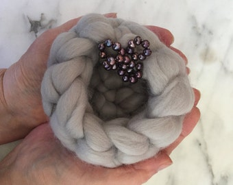 Wishing Wells . . . of Ethically Sourced, Naturally Dyed U.S. Merino and Freshwater Pearls  . . . Vessels for Your Wishes, Dreams, Prayers