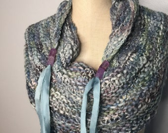 Wrap Shawl Scarf Blues Greens Purples Grays in Alpaca Merino Bamboo With Hand-dyed Silk Ribbon and Amythyst Beads-Wearable Art